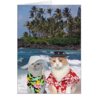 Customizable Funny Surfer Cats/Kitties Anniversary Card