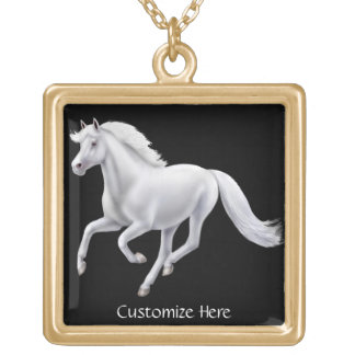 Customizable Galloping White Horse Necklace