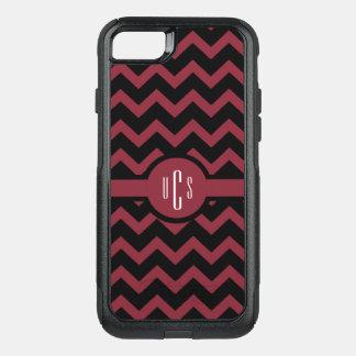 Customizable Garnet and Black Monogram OtterBox Commuter iPhone 8/7 Case