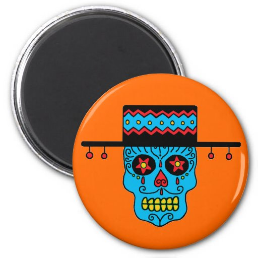 Customizable Gaucho Sugar Skulls Refrigerator Magnets