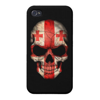 Customizable Georgian Flag Skull iPhone 4/4S Covers