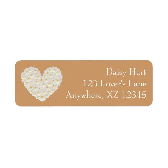 Customizable Gerber Daisy Heart Return Address Label