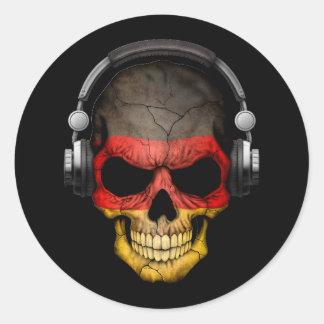 Customizable German Dj Skull with Headphones Round Sticker