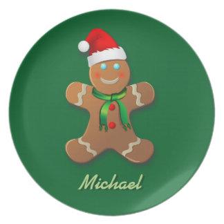 Customizable Gingerbread Man Cartoon Plate