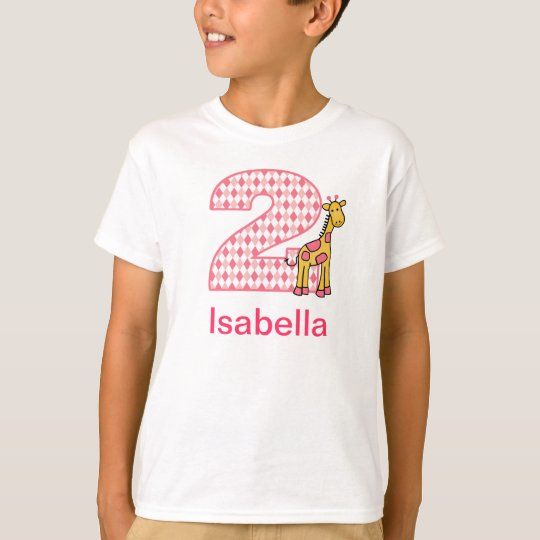 Customizable Giraffe girl second birthday shirt 2