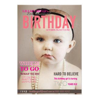 Customizable Girl s Birthday Invite Magazine Cover