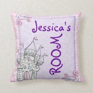 Customizable girls room fairytale castle pillow