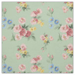 Customizable Girly Pastel Floral, Green Background Fabric