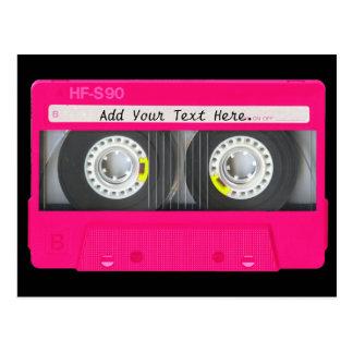 Customizable Girly Pink Cassette Tape Postcard