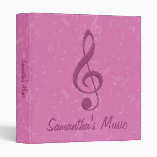 Customizable Girly Pink Clef and Musical Notes Vinyl Binder
