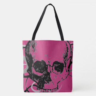 customizable girly skull tote bag