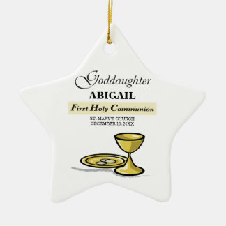 Customizable, Goddaughter First Communion Chalice Ceramic Ornament