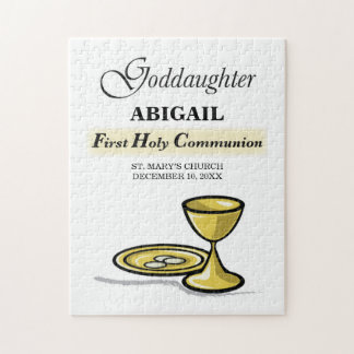 Customizable, Goddaughter First Communion Chalice Jigsaw Puzzle