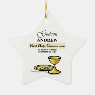 Customizable, Godson First Communion Chalice Ceramic Ornament