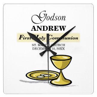 Customizable, Godson First Communion Chalice Square Wall Clock