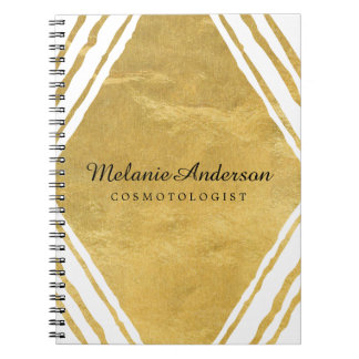 Customizable Gold and White Note Book