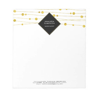 Customizable Gold Confetti Strands Notepads
