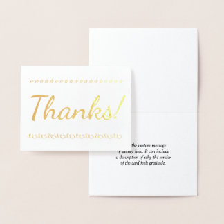 "Customizable Gold Foil ""Thanks!"" Card"