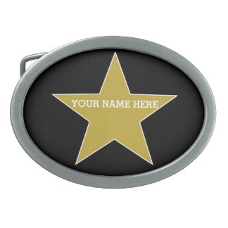Customizable Gold Star Oval Belt Buckle