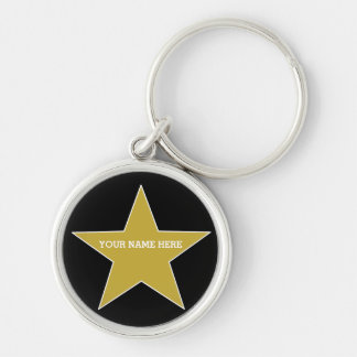 Customizable Gold Star Silver-Colored Round Keychain