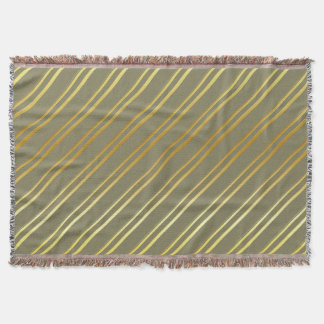 Customizable Gold Stripes Throw Blanket