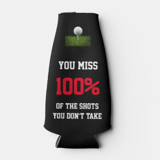 Customizable Golf Miss 100% Shots Bottle Cooler