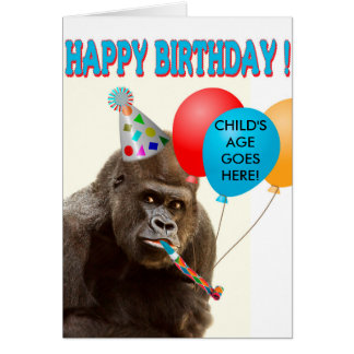 Customizable Gorilla Birthday Card