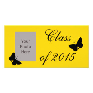 Customizable Graduation - Black and Gold Butterfly Personalized Photo Card