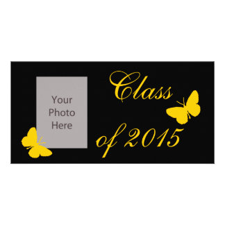 Customizable Graduation - Black and Gold Butterfly Photo Card Template