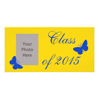 Customizable Graduation - Black and Gold Butterfly Photo Greeting Card