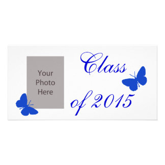 Customizable Graduation - Blue and White Butterfly Custom Photo Card