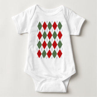 Customizable Green and Red Argyle Baby Bodysuit