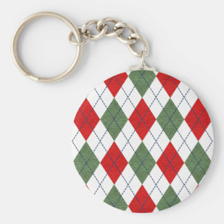 Customizable Green and Red Argyle Keychain