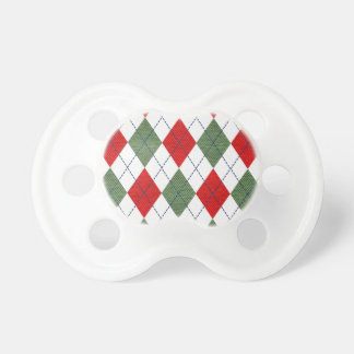 Customizable Green and Red Argyle Pacifier