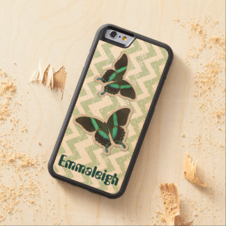 Customizable Green Butterfly and Chevron iphone 6 Carved Maple iPhone 6 Bumper Case