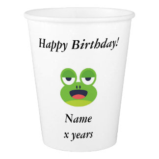 Customizable Green Frog Happy Birthday Paper Cup