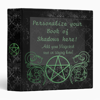 Customizable green pentacle book of shadows 3 ring binders