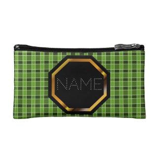 Customizable Green Plaid Cosmetics Bag