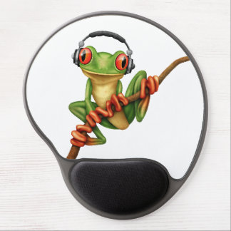 Customizable Green Tree Frog Dj with Headphones Gel Mouse Pad
