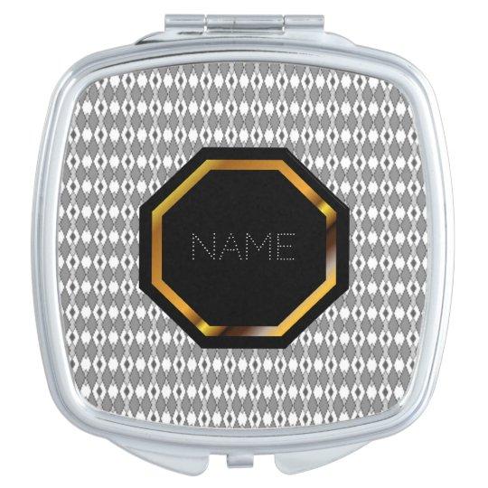 Customizable Grey Argyle Compact Mirror