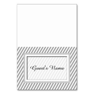 Customizable Grey Striped Name Place Cards Table Cards