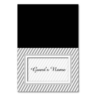 Customizable Grey Striped Tented Name Place Cards
