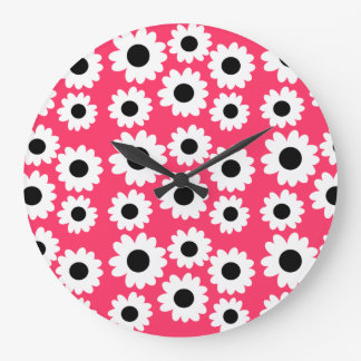 Customizable Groovy Daisies Large Clock