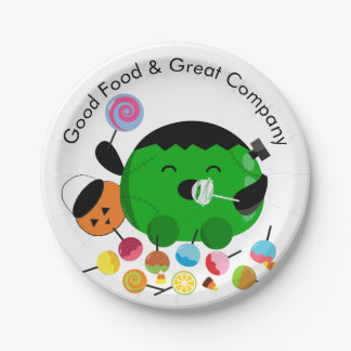 Customizable Halloween - Frankenstein and Candies Paper Plate