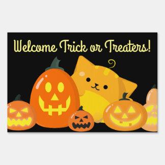Customizable Halloween - Pumpkin Cat Sign