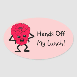 "Customizable ""Hands Off My Lunch"" Raspberry Oval Sticker"