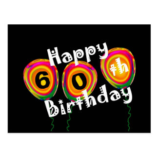 Customizable Happy 60th Birthday Colorful Balloons Postcard
