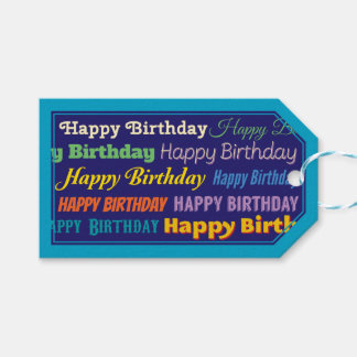 Customizable Happy Birthday Blue Bordered Gift Tags