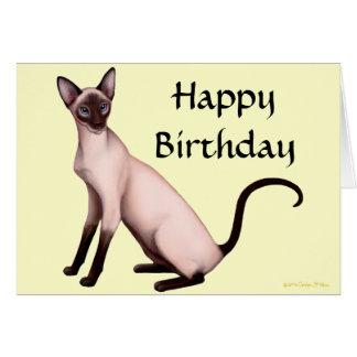 Customizable Happy Birthday Siamese Cat Card