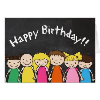 Customizable Happy Birthday with Chalkboard Kids Card